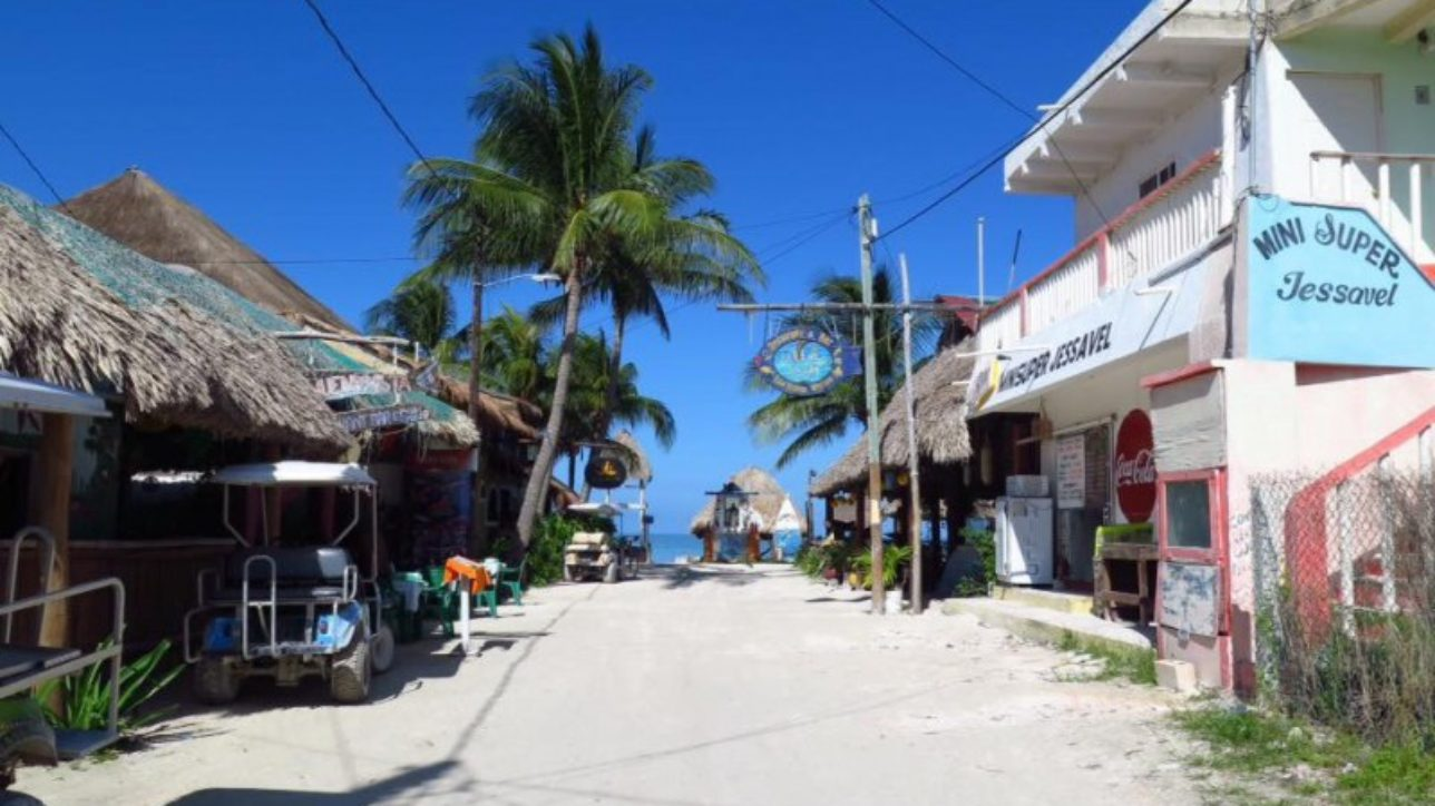 Main street in Holbox Island, Mexico.